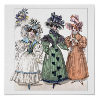 Moda del siglo XIX: vestidos que caminan Poster