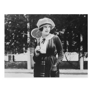 Moda del tenis de los años 20 del vintage postales