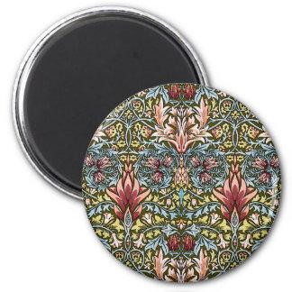 Moda del vintage del modelo del papel pintado flor imán redondo 5 cm