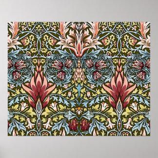 Moda del vintage del modelo del papel pintado flor poster