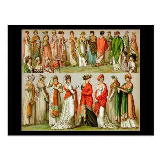 Moda del vintage, mantones de la regencia, 1888 tarjetas postales