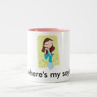 ¿Moda, dónde es mi soja latte? Taza De Dos Tonos
