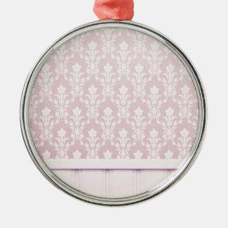moda elegante de madera del papel pintado del adorno redondo plateado