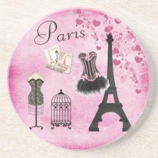 Moda elegante de París del rosa de la torre Eiffel Posavasos Manualidades