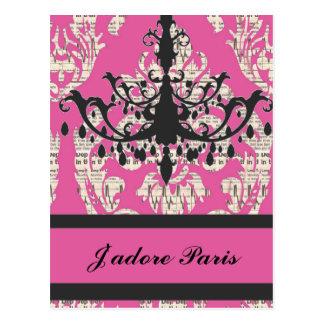 moda elegante de París del vintage femenina Postal