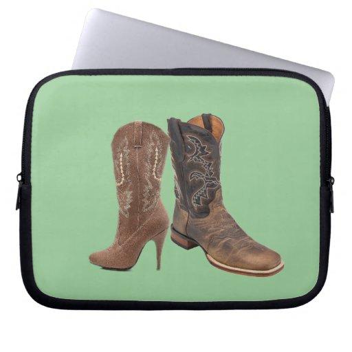 Moda elegante del país occidental de las botas de  funda computadora