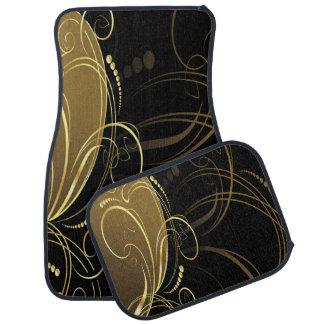 Moda, elegante, oro, floral, modelo, de moda, alfombrilla de coche