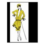 Moda en amarillo del art déco tarjetas postales