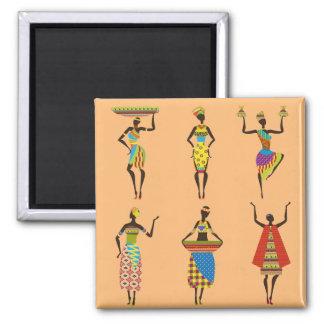 Moda étnica colorida de las señoras tribales imán cuadrado
