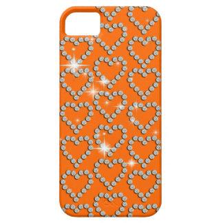 Moda femenina anaranjada del corazón del diamante iPhone 5 Case-Mate protector