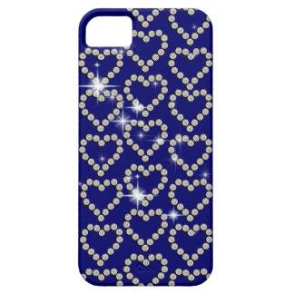 Moda femenina azul del corazón del diamante iPhone 5 protectores