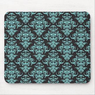 Moda femenina azul del papel pintado del vintage d tapete de raton
