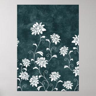 Moda femenina de las flores azules y blancas del d póster