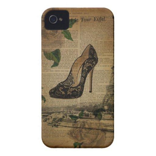 moda femenina de París del vintage elegante iPhone 4 Case-Mate Cobertura