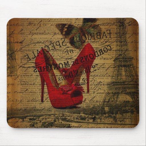 moda femenina de París del vintage elegante Mousepads
