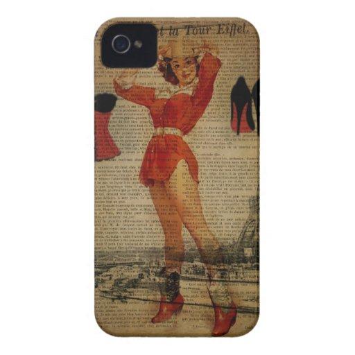 moda femenina de París del vintage romántico iPhone 4 Case-Mate Protectores