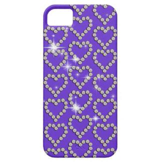 Moda femenina púrpura del corazón del diamante iPhone 5 Case-Mate cobertura
