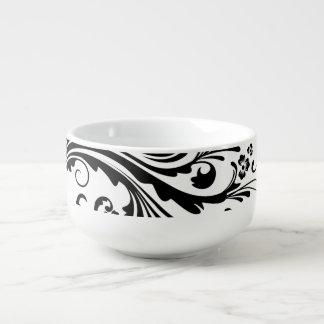 Moda floral blanco y negro cuenco para sopa