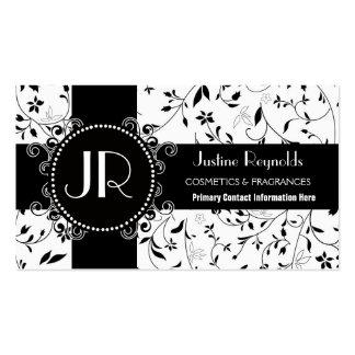Moda floral blanco y negro elegante de las señoras plantillas de tarjetas de visita