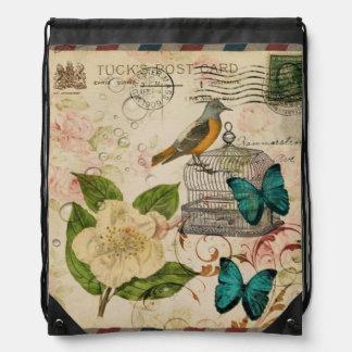 moda floral de París del pájaro botánico francés f Mochila