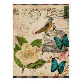 moda floral de París del pájaro botánico francés f Postales