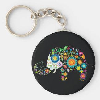 Moda floral del elefante lindo fino llavero redondo tipo pin