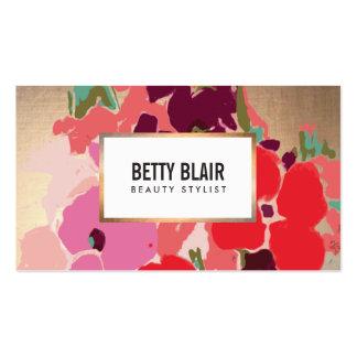 Moda floral, del oro colorida y belleza elegantes tarjeta de negocio