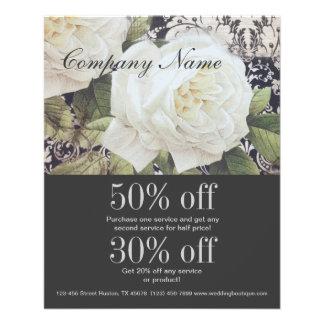 "moda floral del rosa blanco del damasco del vintag folleto 4.5"" x 5.6"""