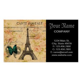 moda floral femenina de la torre Eiffel de París Tarjetas Personales