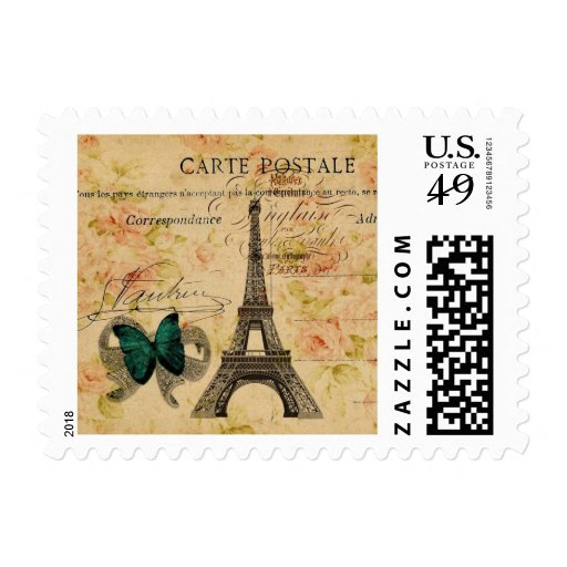 moda floral femenina de la torre Eiffel de París Timbre Postal