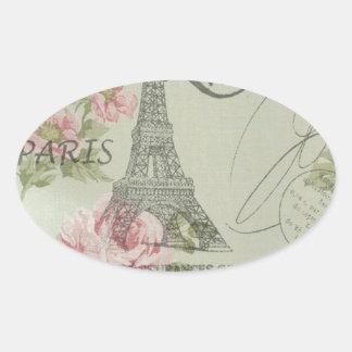 Moda floral retra femenina de París del vintage Pegatina Ovalada