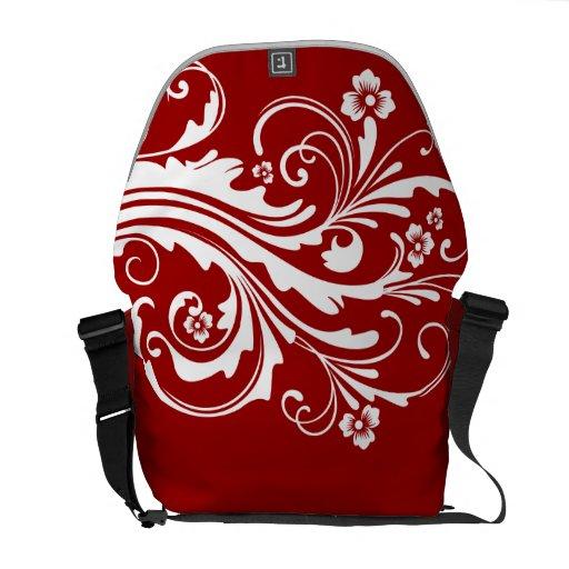 Moda floral roja y blanca bolsa messenger