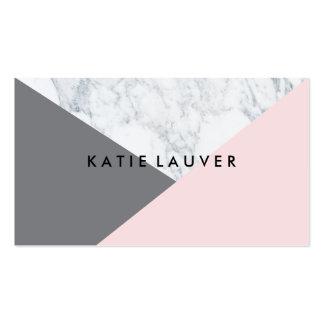 Moda gris rosada de mármol blanca moderna del tarjetas de visita