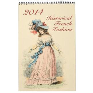 Moda histórica impresa personalizado del francés d calendario