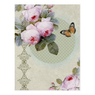 Moda inspirada vintage color de rosa transitorio d postal