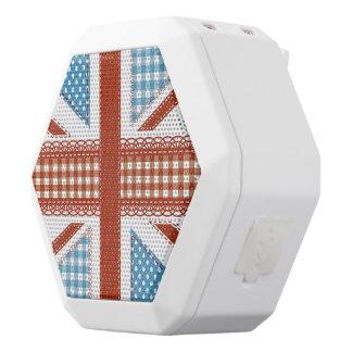 moda lamentable, bandera británica, remiendo, altavoces bluetooth blancos boombot REX