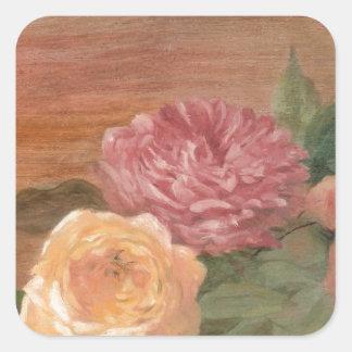 Moda lamentable de los rosas en colores pastel pegatina cuadrada
