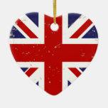 Moda lamentable de Union Jack Adorno Navideño De Cerámica En Forma De Corazón
