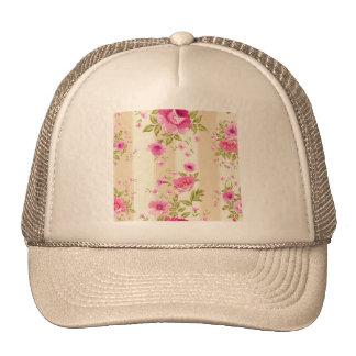 moda lamentable, floral rosado, beige, vintage, gorros