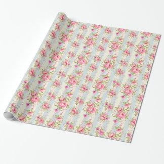 Moda lamentable, floral, vintage, rosa, azul, papel de regalo