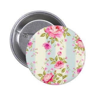 Moda lamentable, floral, vintage, rosa, azul, chapa redonda 5 cm