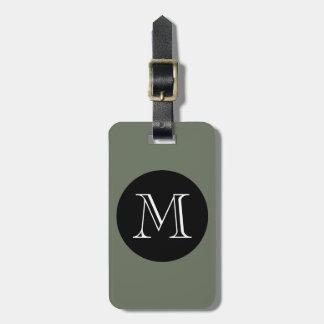 MODA LUGGAGE BAG TAG_533 GREEN BLACK MONOGRAM