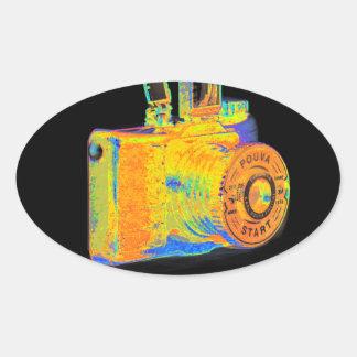 Moda media del arte de la cámara del formato pegatina ovalada