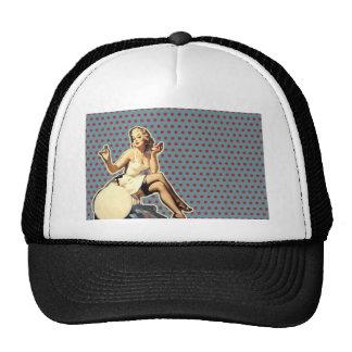 moda modela retra del chica del vintage del arte gorras