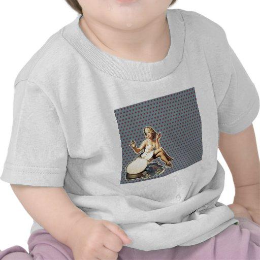 moda modela retra del chica del vintage del arte camiseta