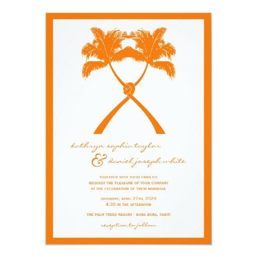 Moda moderna del boda tropical de la playa de las invitación 12,7 x 17,8 cm