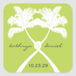 Moda moderna del boda tropical de la playa de las calcomanía cuadradas personalizada