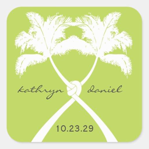Moda moderna del boda tropical de la playa de las  calcomania cuadradas personalizadas