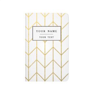 Moda moderna del fondo blanco de Chevron del oro Cuadernos Grapados