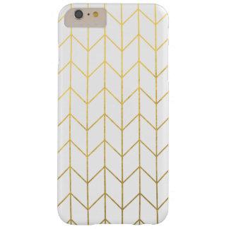 Moda moderna del fondo blanco de Chevron del oro Funda De iPhone 6 Plus Barely There